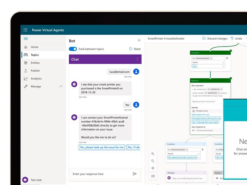 Microsoft Virtual Agents pantalla