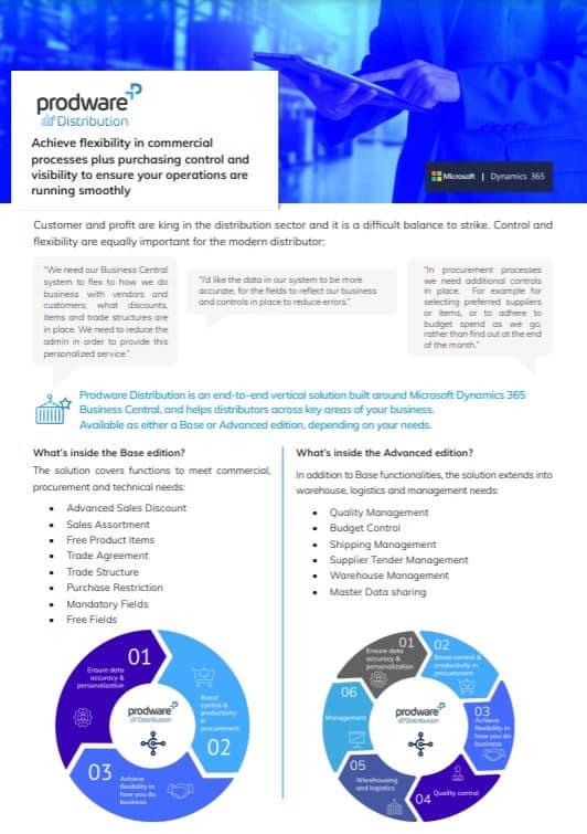 Distribution pour Microsoft Dynamics 365 Business Central