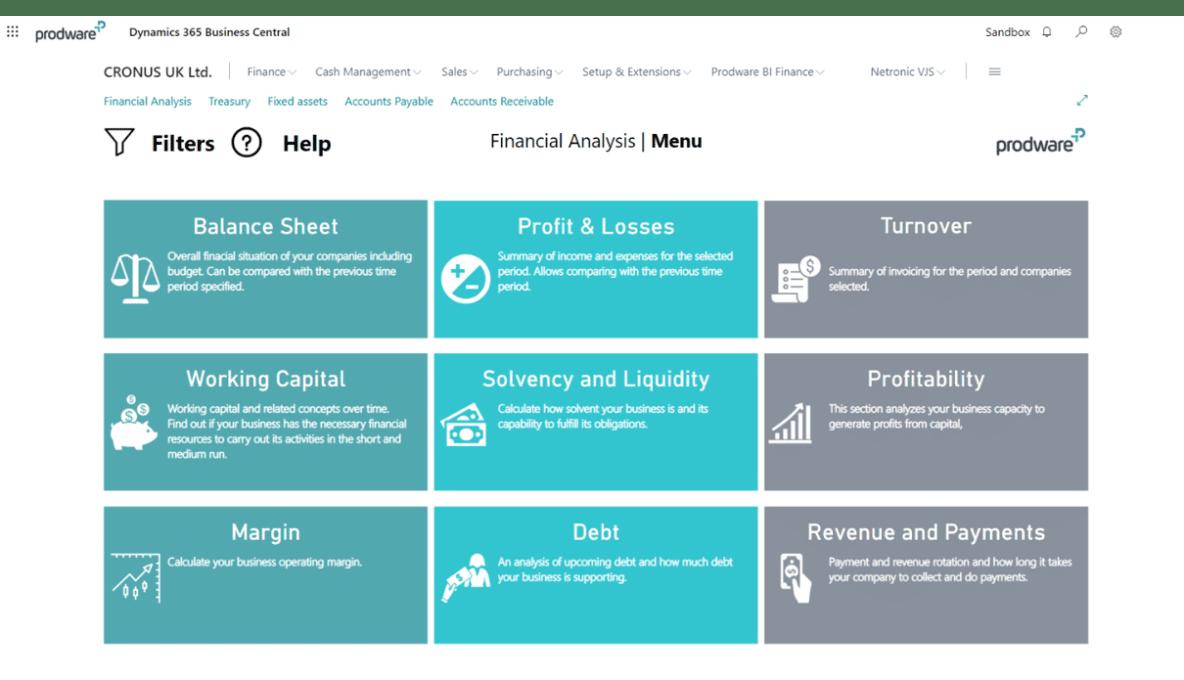 Power BI for Microsoft Dynamics 365 Business Central home menu