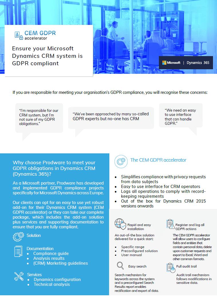 CEM GDPR accelerator for Microsoft Dynamics 365 Customer Engagement CRM brochure thumbnail