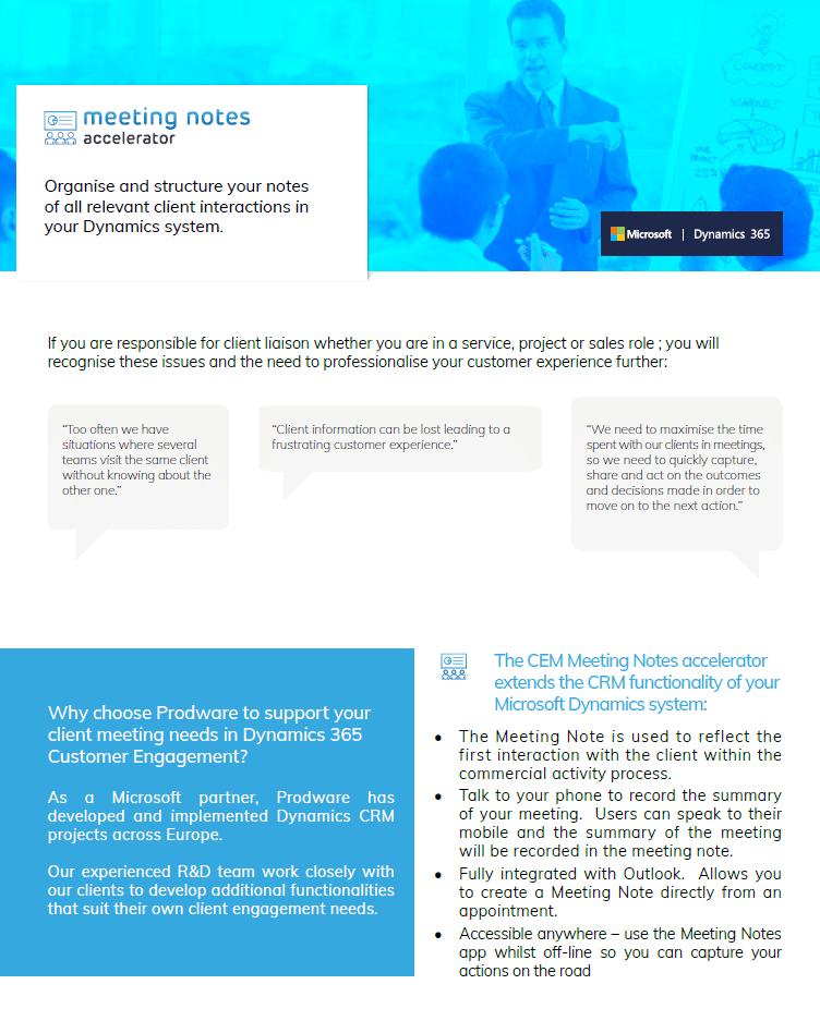 Meeting Notes accelerator for Microsoft Dynamics 365 Customer Engagement brochure thumbnail