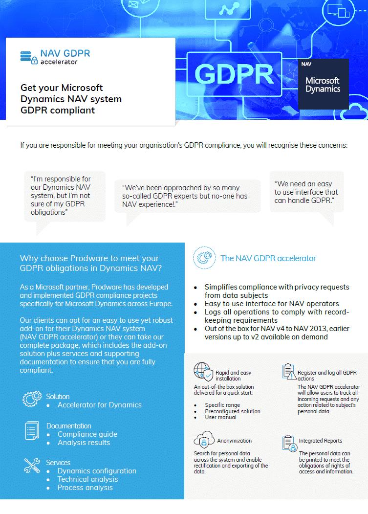 GDPR accelerator for Microsoft Dynamics NAV brochure